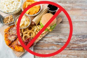Avoid consuming junk foods such as: french fries, pizza, hamburgers, chips, hot dogs, soda, etc.
