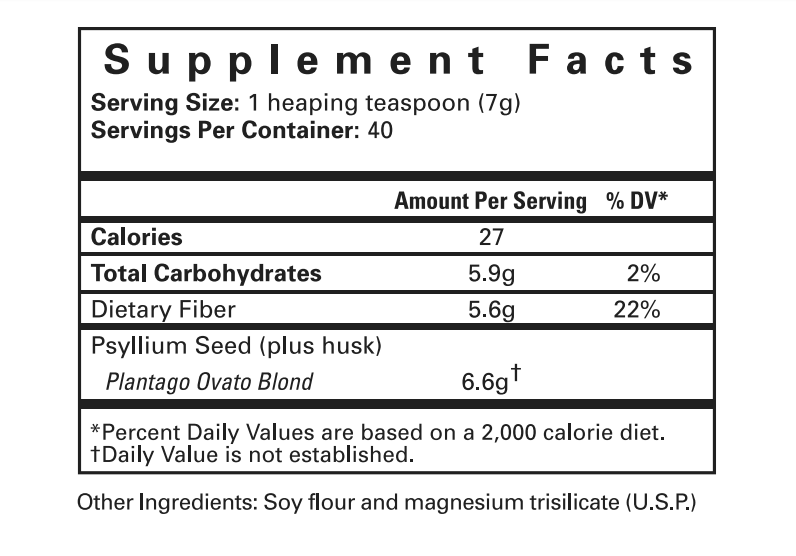 #19 Intestinal Cleanser - Supplement Facts Panel