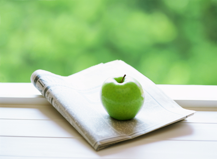 newspaper and apple - Health and Nutrition News
